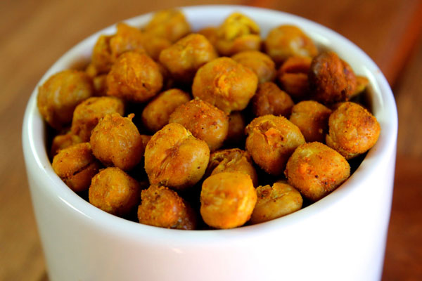 Roasted garbanzo beans make a healthy snack and alternative to chips